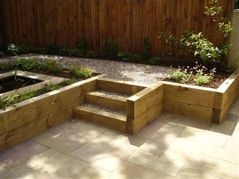 Railwat Sleepers by Softwood Railway Sleepers Used For Retaining Walls And Steps Within The Garden Country