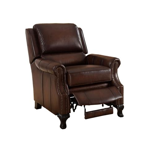 genuine leather recliner milari traditional genuine real brown leather pushback