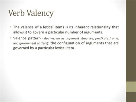 verb valency pattern sematic roles