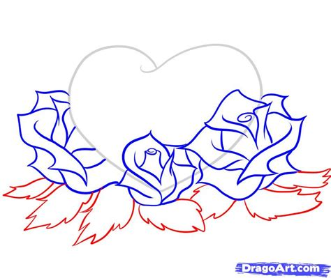 pencil drawings of hearts and roses free download clip