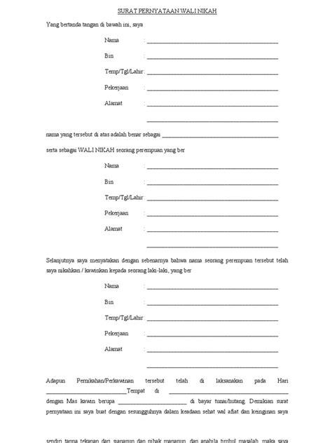 Contoh Surat Untuk Wali Nikah