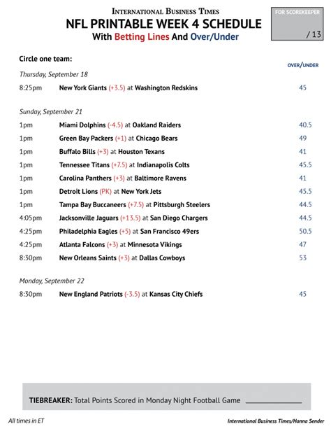 printable nfl schedule for this week nfl office pool 2014 printable week 4 schedule with