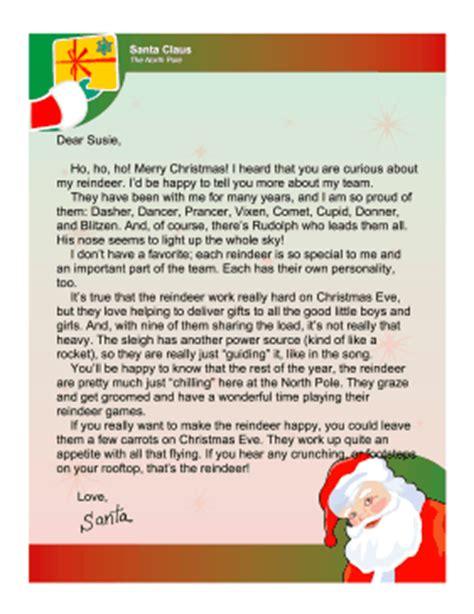 free editable printable letter from santa santa letter reindeer
