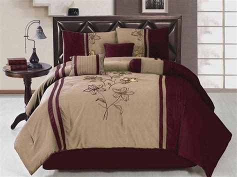 burgundy king comforter 7 piece king size comforter set embroidered floral