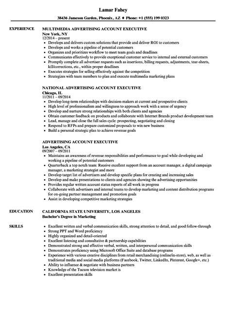 Advertising Resume by Advertising Account Executive Resume Sles Velvet