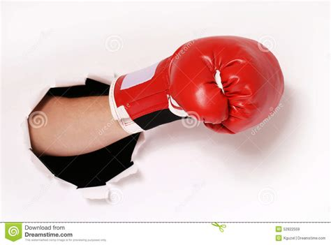 How To Make Paper Boxing Gloves - in boxing glove through paper stock photo