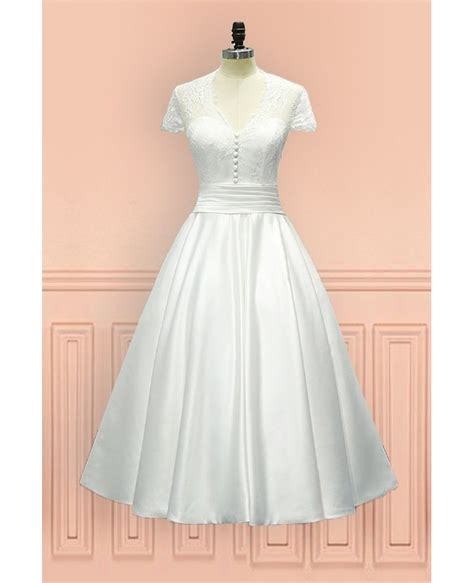 Length Wedding Dress by Vintage Tea Length Wedding Dress Sheer Back With Cap
