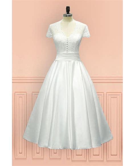 Length Wedding Dresses by Vintage Tea Length Wedding Dress Sheer Back With Cap