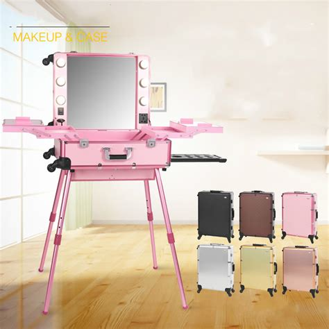 station lighted six colors large lighted makeup with lights wheeled cosmetic box station with mirror weight