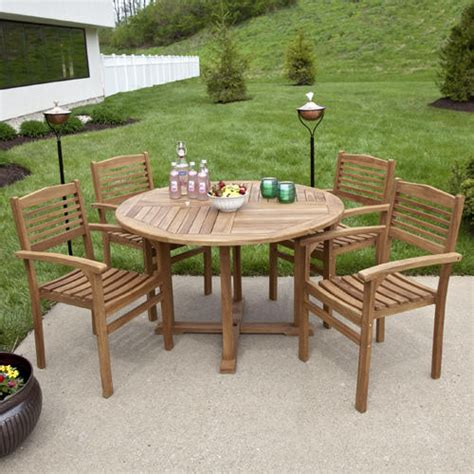Teak Outdoor Round Dining Table Set with Stacking Chairs