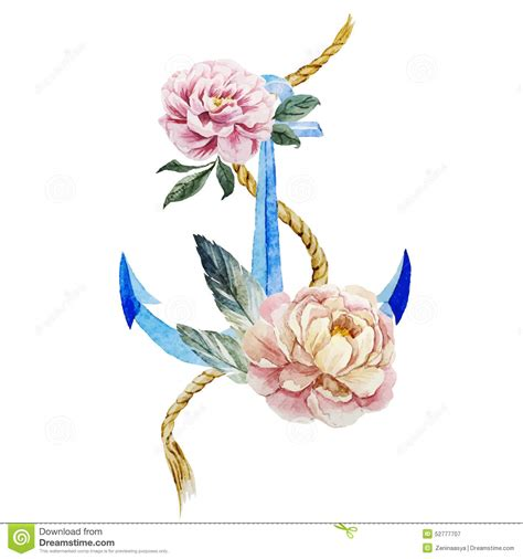 L Cm0023 Anchor And Flowers anchor with flowers stock vector illustration of paper