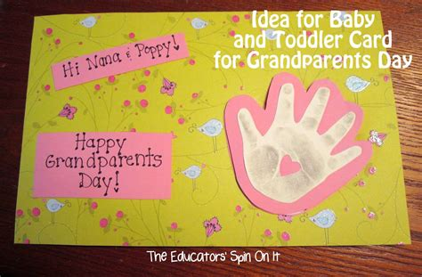 Toddler Cards - handprint card the educators spin on it