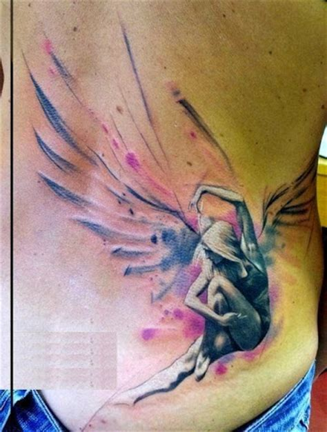 lower side back another best angel tattoo ever