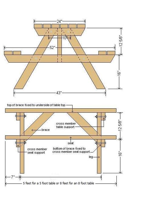 picnic bench dimensions picnic table plans plans for wood furniture pinterest