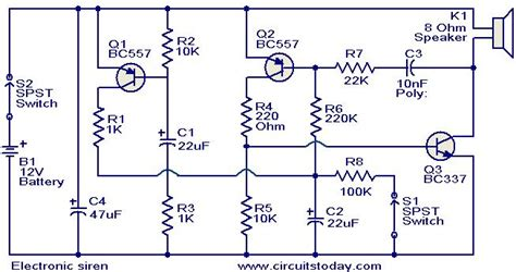 electronic siren circuit electronic circuits and