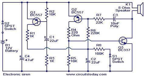 electronic siren circuit electronic circuits and
