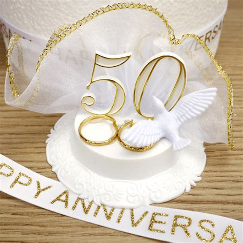 Golden Wedding Anniversary Cake Decoration Set