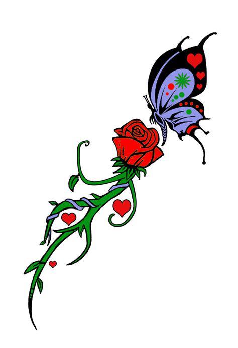 rose tattoo clipart trible butterflies and roses clipart best