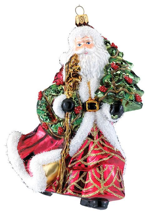 kurt adler 7 21 quot polonaise santa with tree ornament