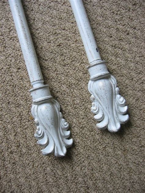 shabby chic curtain rod shabby cottage feather motif curtain rod finial