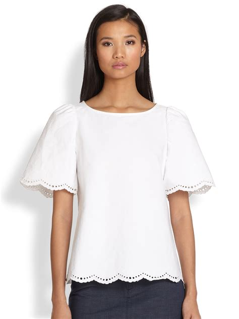 30779 White Cotton Blouse lyst a p c splitback scalloped eyelet cotton blouse in white