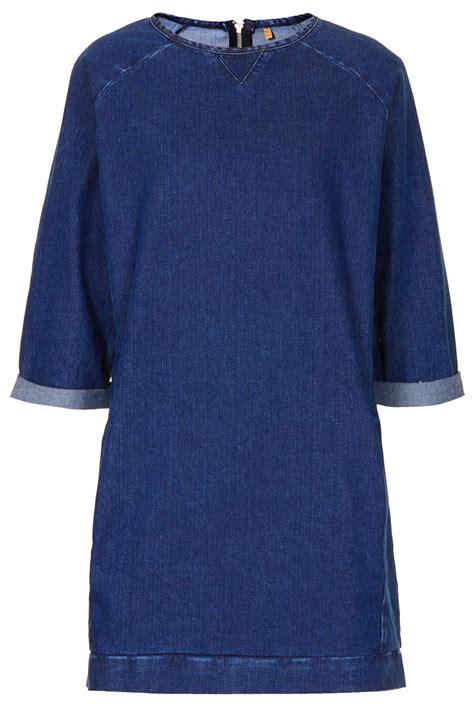 Denim Jumper lyst topshop moto denim jumper dress in blue