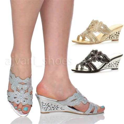 Wedges Flowers W 91 womens mid heel cut out wedge flower diamante mules sandals slippers size ebay