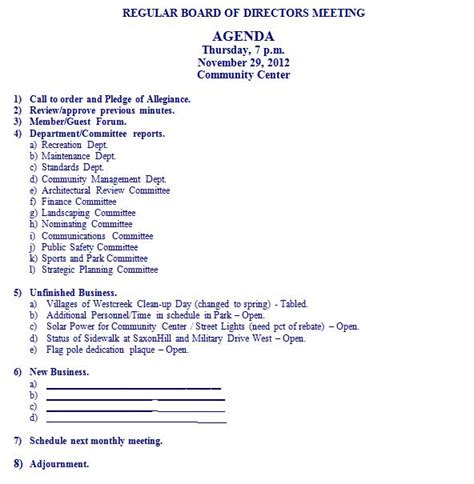 business memo outline agenda for november 29 2012 board of directors meeting