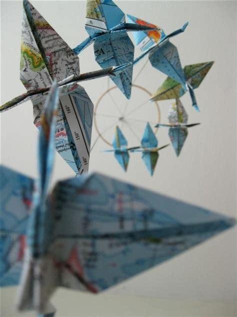 Map Origami Paper - children decor origami crane mobile baby mobile map eco