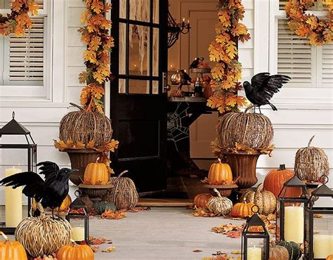 pottery barn inspired fall front porch halloween decorating party ideas