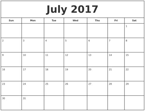 printable calendar 2017 monday to sunday july 2017 print free calendar