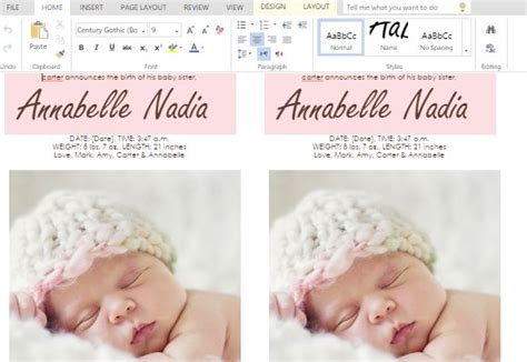 templates for birth announcements for a baby girl ms word templates for making cards for child birth