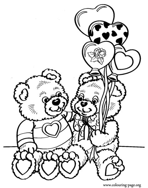 teddy bear valentine coloring page valentine s day a couple of teddy bears on valentine s