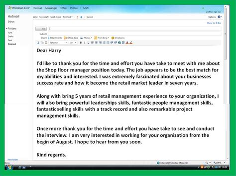 Thank You Email After Interview Template Business Email After Template
