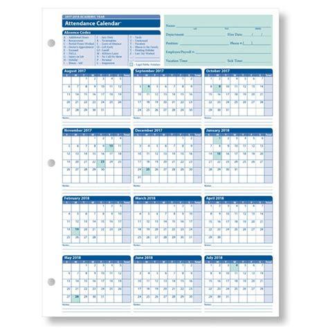 2018 Attendance Calendar Printable