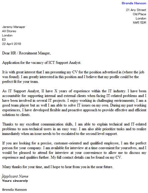 ict support analyst cover letter exle icover org uk