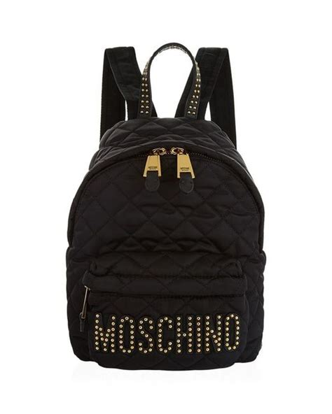 moschino small quilted logo backpack in black lyst