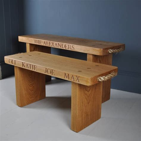 solid oak benches personalised solid oak bench by the oak rope company