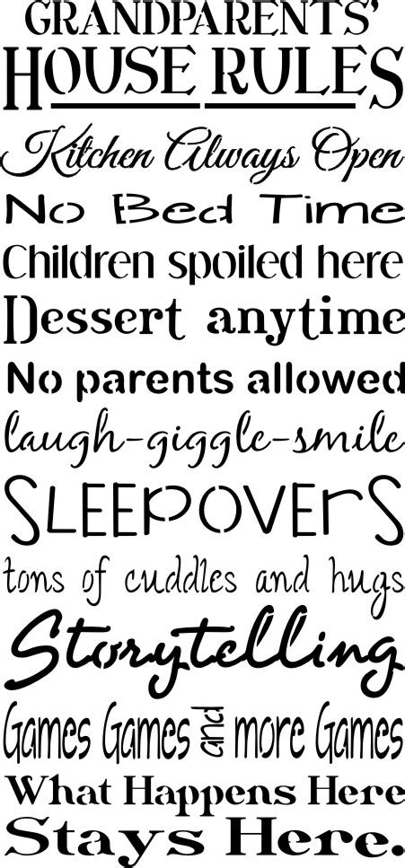 grandparents house rules grandparents or your word choice house rules 11 5 x 24 quot stencil