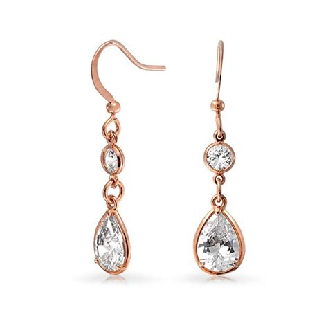 rose gold plated bezel set teardrop and round cz dangle