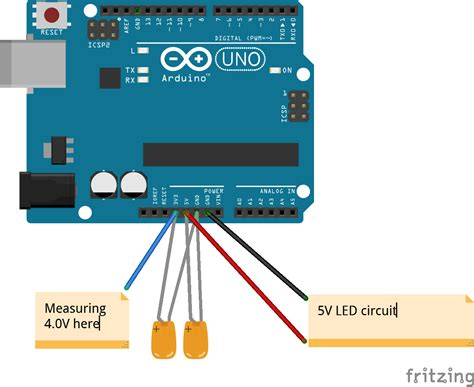 decoupling capacitor for arduino reading 4v from 3 3v pin with decoupling capacitors