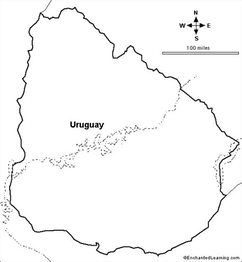 Outline Map: Uruguay   EnchantedLearning.com