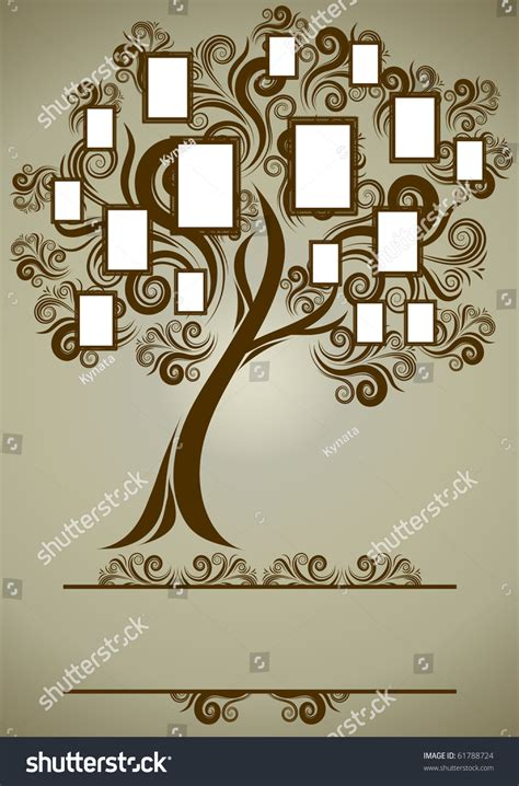 Vector Family Tree Design Frames Autumn Stock Vector 61788724 Shutterstock Vector Family Tree Design With Frames And Autumn Leafs Place For Text