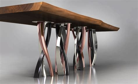 copper esszimmertisch live edge dining table with curvaceous intertwined brass legs
