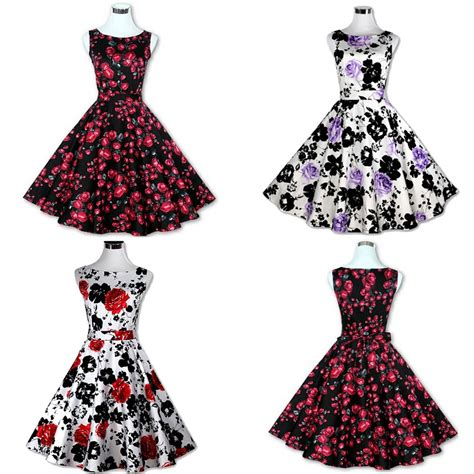 womens vintage retro rockabilly floral pinup 50s 60s