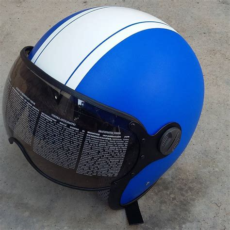 Helm Retro Biru helm vespa helm retro kz biru doff helmet helmunik