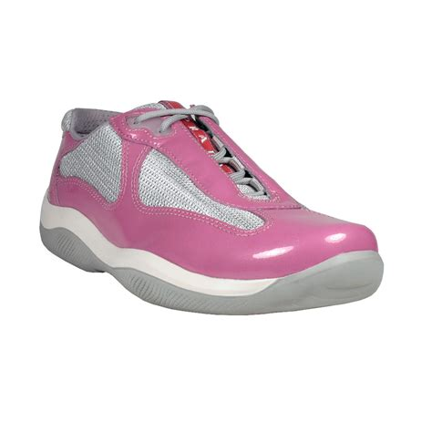 prada sneakers prada womens vernice metal bike pink argento laced