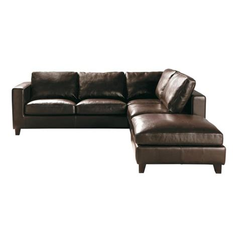 Brown Leather Sofa Bed 5 Seater Split Leather Corner Sofa Bed In Brown Kennedy Maisons Du Monde