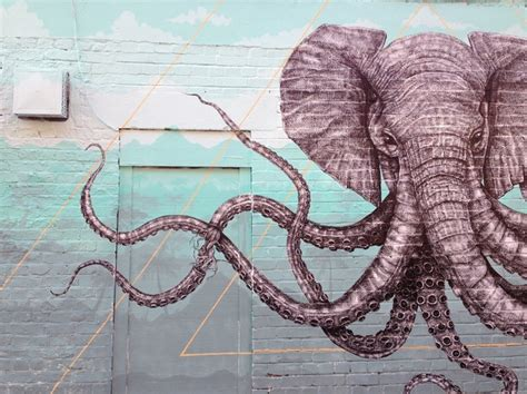 Wall Mural Painting mural of a hybrid elephant octopus creature in london