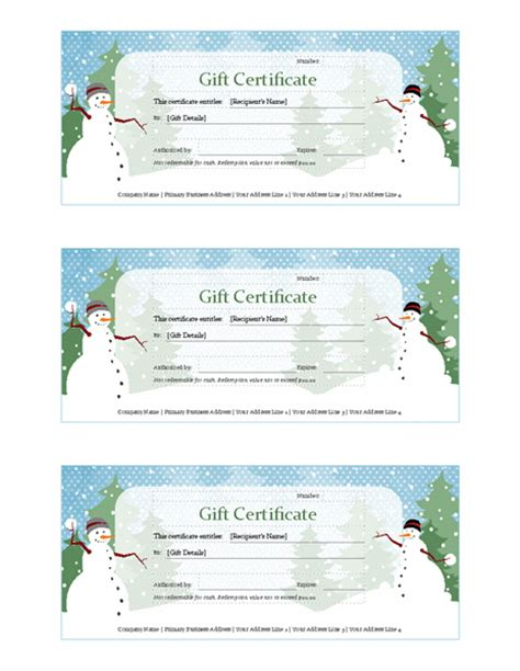 templates gift certificates christmas holiday gift certificate snowman design free